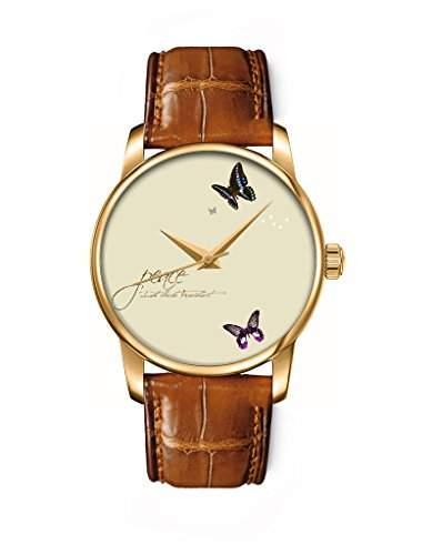 Armbanduhr, Golden Braun echte Leder Maedchenuhr Damenuhr mit Schmetterling OOFIT Design