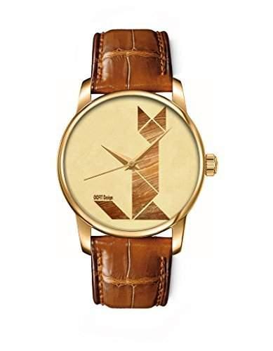 Armbanduhr, Golden Braun echte Leder Maedchenuhr Damenuhr mit Fuchs OOFIT Design