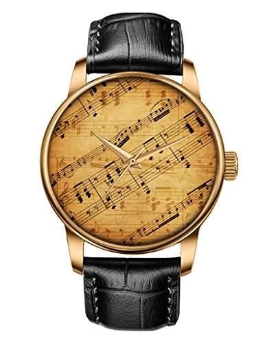 Maedchen uhr - Braune Echte Leder - Gold Uhren - Bambus - Notenblaetter -OOFIT Design