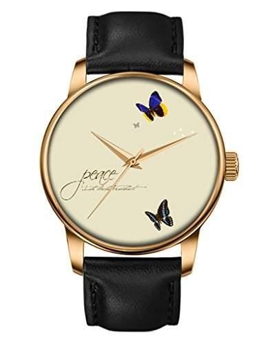 Damen Uhr, Gold Schwarz Leder Armbanduhr mit Schmetterling