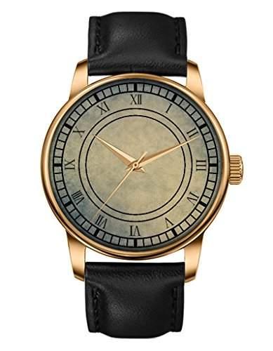 Damen Armbanduhr - Schwarze Echte Leder - Uhr Gold - Glat - Roemische Ziffern -OOFIT Design