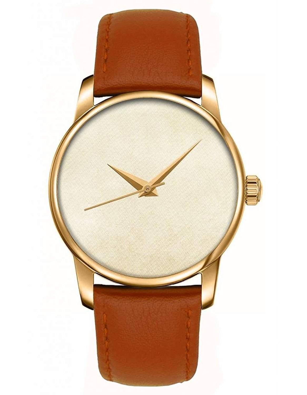 Goldene Damenuhr Analog Quarzuhr Watch braunes Leder Armband Armbanduhr mit Aprikose Farbverlauf Zifferblatt Bilder von OOFIT