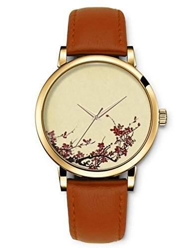 Gold Armbanduhr Damen, Braunes Damenuhr mit Rote Blumen und Zweige schwarz Zifferblatt Bilder