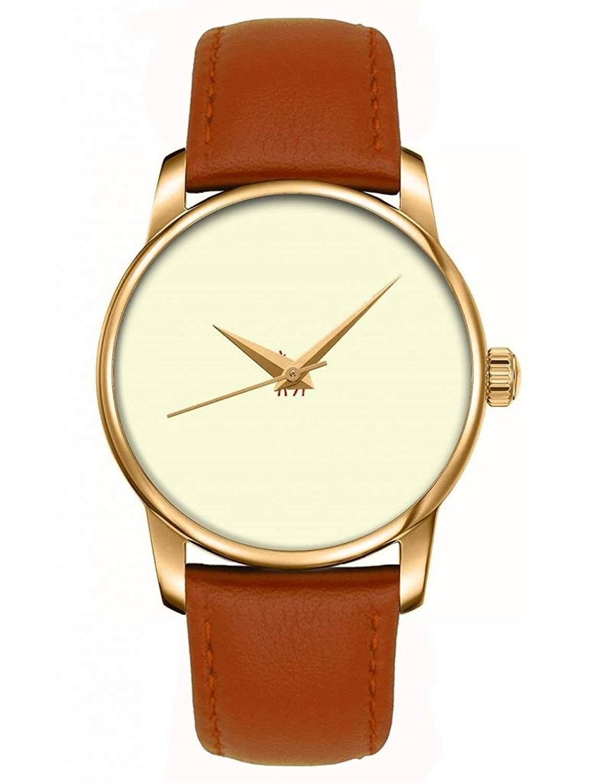 Armbanduhr, Golden Braun echte Leder Maedchenuhr Damenuhr mit OOFIT Design