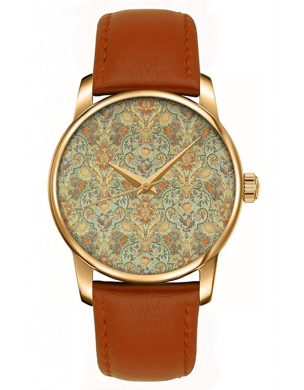 Goldene Damenuhr Braunes Leder Armbanduhr mit Retro- Blumenmuster Zifferblatt Bilder von OOFIT