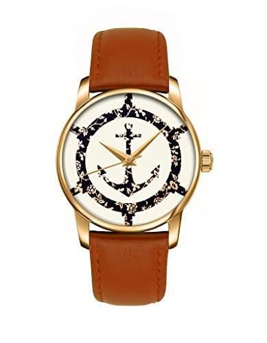Damen Uhr Gold mit Mode Lenker Anker Retro braun Blumen Klassisch