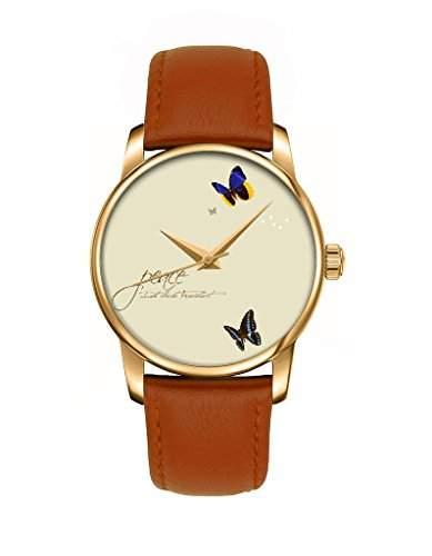 Maedchenuhr, Golden braun Damenuhr Leder Armbanduhr mit Schmetterling OOFIT Design