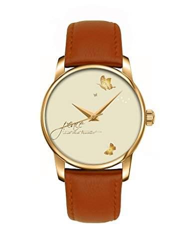 Geschenk Armbanduhr, Golden braun Damenuhr Leder Armbanduhr mit Schmetterling OOFIT Design
