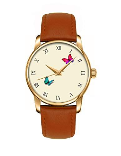Maedchenuhr, Golden braun Damenuhr Leder Armbanduhr mit Lebendigen Schmetterlingen OOFIT Design