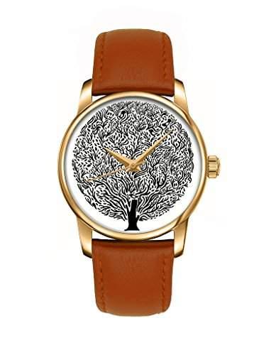 Zeigt Damen zeigt Maedchen Quartz Analog Zifferblatt rund gold Armband Leder schwarz Totem Baum schwarz Klassische Vintage