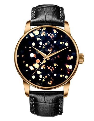 Schwarze Echte Leder Uhren Gold Bambus Nachtfeuer OOFIT Design