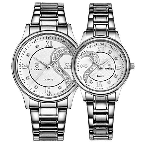 OOFIT Damen und 1 Paar 2PC Tiannbu Parneruhr Edelstahl Armband Paaruhren