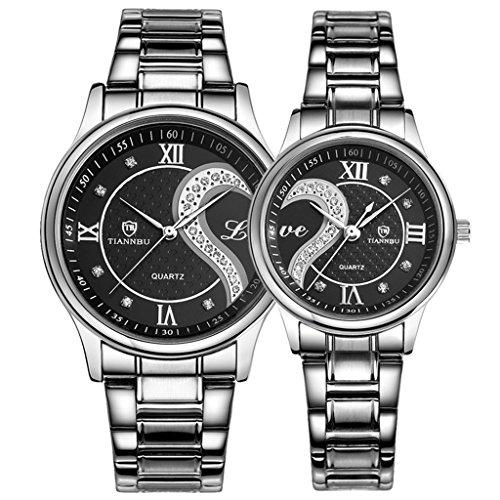 OOFIT Seine und ihre Edelstahl Armband Schwarz ueberzogenes Geschenk Uhren Paar Uhren 2er Set