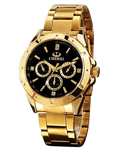 OOFIT UHREN gold Edelstahl Armbanduhr Analog Quarz uhr wasserdicht OOFIT 019A Black NV
