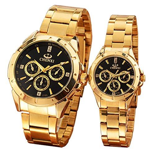 OOFIT Uhren Partneruhr fuer damen und herren Gold Armbanduhren paaruhren