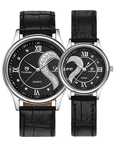 OOFIT Armbanduhr 1 Paar  2PC Tiannbu Ultraduennes Leder Romantic Mode Paar Armbanduhren Schwarz