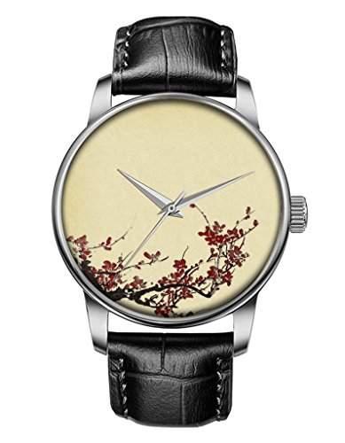 Damenuhr, Silber Schwarz Maedchenuhr echte Leder Armbanduhr mit Pflaumenbluete OOFIT Design