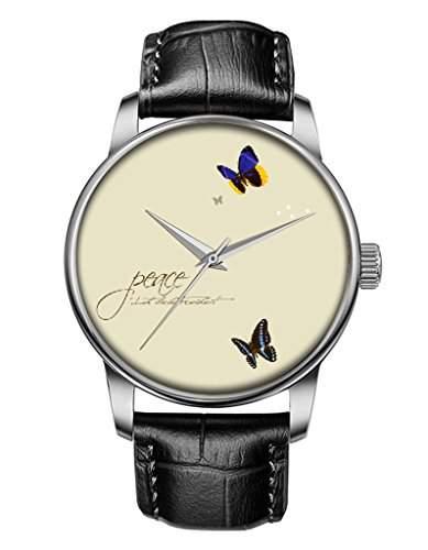 Damen uhr silber, Schwarz Leder Armbanduhr mit Schmetterling