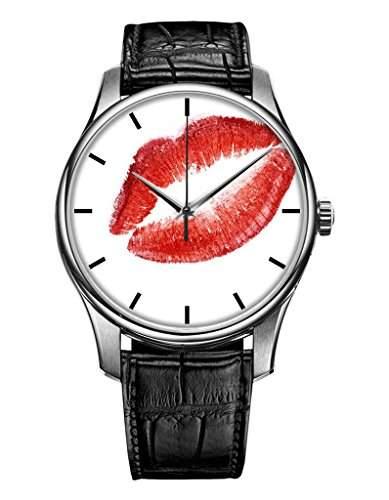 Damenuhr, Silber Schwarz Maedchenuhr echte Leder Armbanduhr mit sexy Lippen OOFIT Design