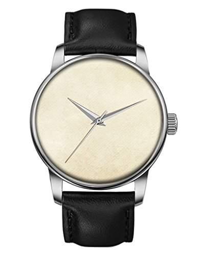 Geschenk Armbanduhr, Silber Schwarz Damenuhr Leder Armbanduhr mit leer OOFIT Design