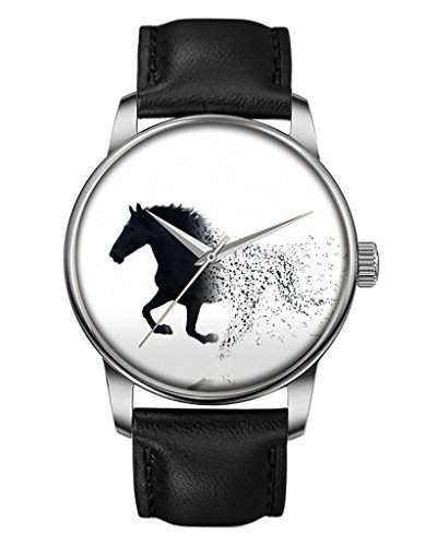 Quarz Armbanduhr, Damen Silber Elegant Schwarze Armband mit Das Verschwinden Pferd OOFIT Design