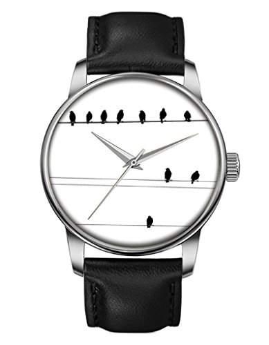 Geschenk Armbanduhr, Silber Schwarz Damenuhr Leder Armbanduhr mit Voegel auf dem Draht OOFIT Design
