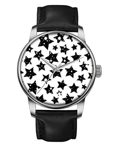 Geschenk Armbanduhr, Silber Schwarz Damenuhr Leder Armbanduhr mit fuenfzackigen Stern OOFIT Design