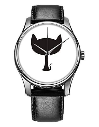 OOFIT Damen-Armbanduhr Analog Quarz Leder mit schoene blumen Design Schwarz