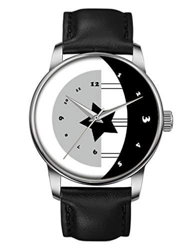 Damen Quarzuhr - Schwarze Echte Leder - Silber Uhre - Glat - Mond & Sterne -OOFIT Design