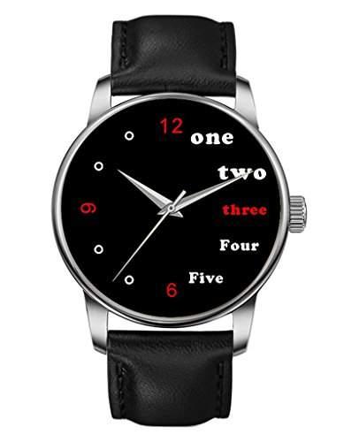 Damen Quarzuhr - Schwarze Echte Leder - Silber Uhre - Glat - Rot Schwarz -OOFIT Design