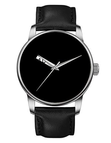 Damen Quarzuhr - Schwarze Echte Leder - Silber Uhre - Glat - 10 du bist hier -OOFIT Design