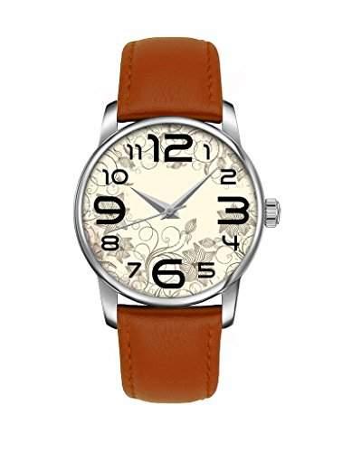 Damenuhr, Silber Braun Maedchenuhr echte Leder Armbanduhr bei OOFIT koennen Sie das Besten Geschenk