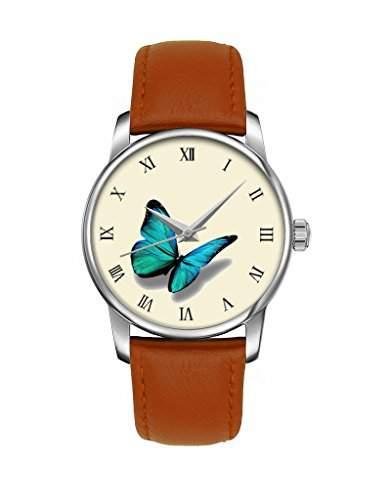 Quarz Armbanduhr, Damen Silber Elegant Braune Armband mit Blauer Schmetterling OOFIT Design