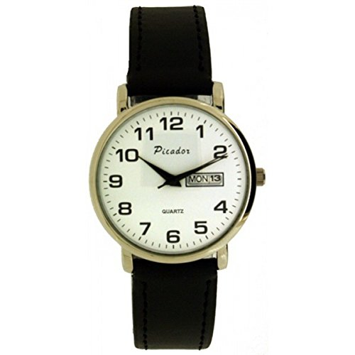 SOFtech Unisex Chromsilber Zifferblatt weissen Gesicht schwarz PU Leder Armband Tag Datum Analog Quarz Haken Schnalle Verschluss Extra Uhrenbatterie