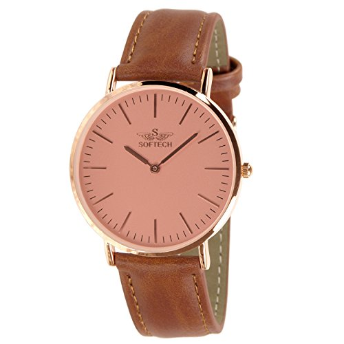 Slim Classic by Softech Kunstleder auf Trend Designer Rose Gold Face Fall Tan Gitarrengurt