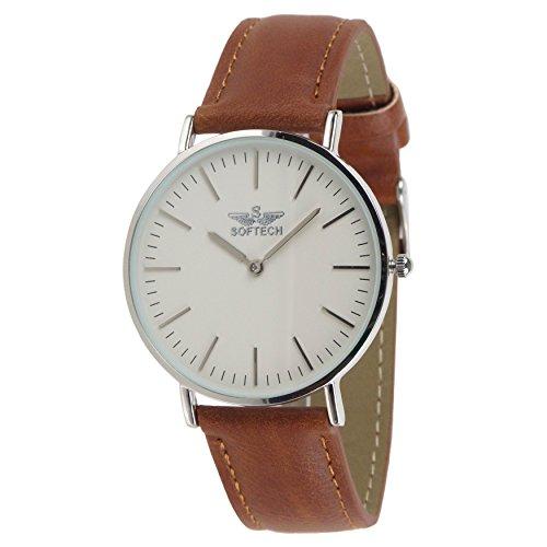 Slim Classic Herren Armbanduhr by Softech Kunstleder auf Trend Designer Silber Fall Tan Gitarrengurt