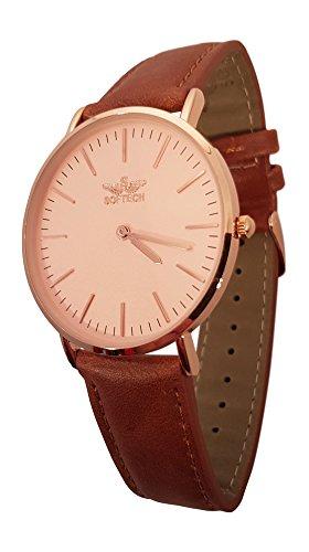 Slim Classic Herren Armbanduhr by Softech mit Geschenkbox Gold Case Faux Tan Leder auf Trend Designer Gurt