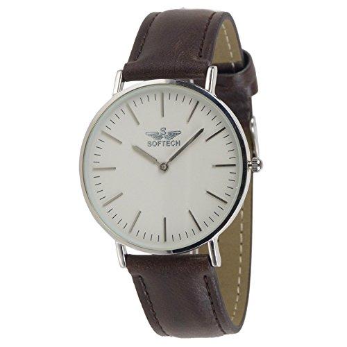 Slim Classic Herren Armbanduhr by Softech Kunstleder auf Trend Designer Silber Fall Braun Band