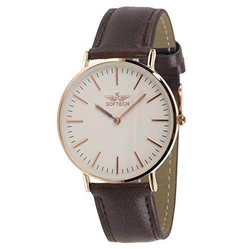Slim Classic Herren Armbanduhr by Softech Kunstleder auf Trend Designer Rose Gold Fall Braun Gurt