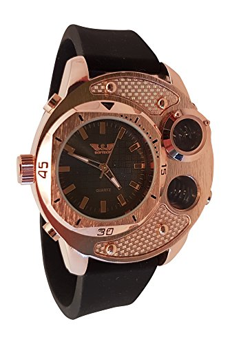 SOFTECH Herren Designer Armbanduhr mit Geschenk Box grosse Funktion Bronze Face mit Spring Details Schwarz Gummi Riemen Schwarz Analog Zifferblatt