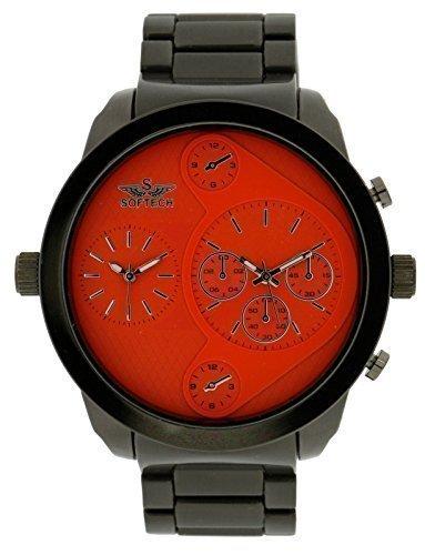 Softech Designer Herren Zwei Zeitzone Zwilling Zifferblatt Armbanduhr Schwarz Metall Orange Ziffernblatt