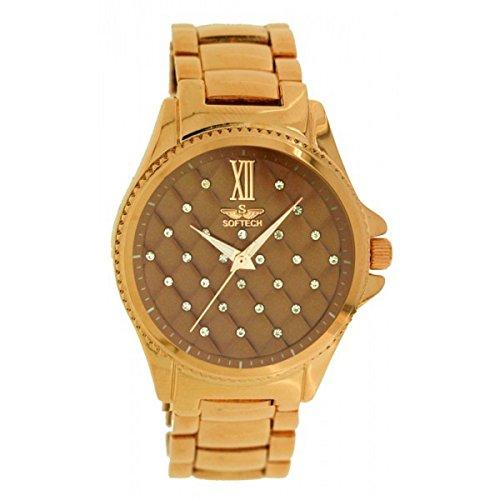 SOFtech Frauen s stieg Gold plattiert braun Diamante Gesicht Armband Armbanduhr Metal analoge Quarz Faltschliesse Extrabatterie