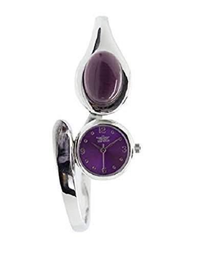 Waehlen Sie neue Softech Damen Silber Armband Armreif Metall Analoguhr Quarz mit lila Stein auf Gesicht Extrabatterie