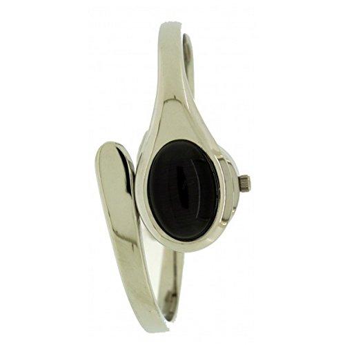 Waehlen Sie neue Softech Damen Silber Armband Armreif Metall Analoguhr Quarz mit schwarzen Stein auf Gesicht Extrabatterie