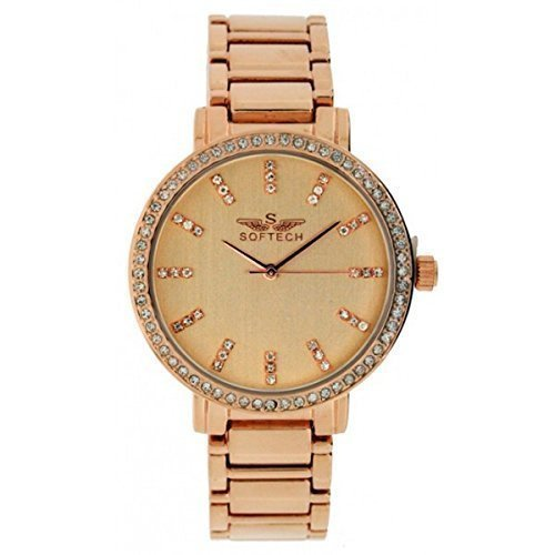 Neu Softech Damen Armband Diamante gesicht Designer Rotgold Armbanduhr