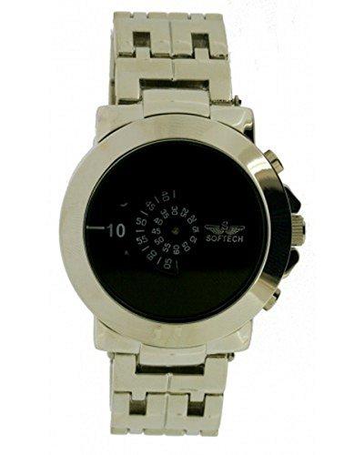 Softech Designer Maenner s Jump Stunde analoge Wrist Watch schwarze Scheibe Zeit Quarz