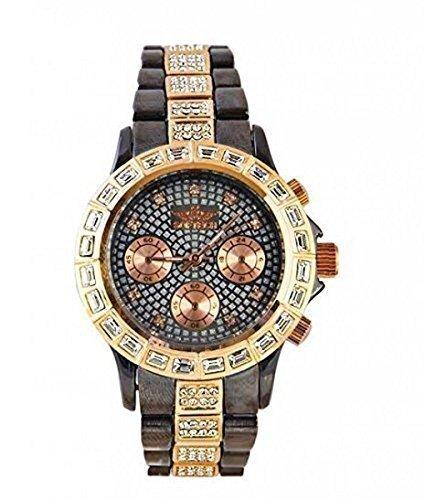 Softech Designer Armbanduhr mit Strass Ziffernblatt Armband Bronze Rotgold mit extra Batterie
