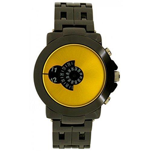 SOFTECH Mens Designer Retro gelbes Gesicht Jump Hour Disc Edelstahl Armband Uhr
