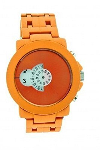 SOFTECH Mens Designer Retro Orange Jump Hour Disc Edelstahl Armband Uhr