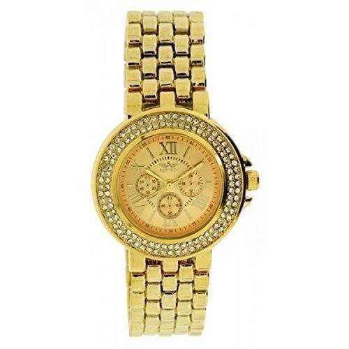 Neue Softech Diamante Face Designer Gold Armbanduhr Analog Quarz mit einem zusaetzlichen Akku